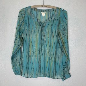 Ariat boho style sheer lace up pop over blouse